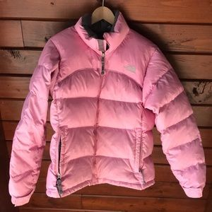 Used North Face puffer coat -Bubble gum pink